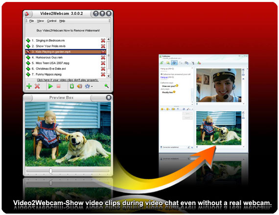 Video2webcam allows you to show videos as virtual webcam in video chat whether you own a real webcam or not. With it, you can switch between real and virtual webcams freely. It works on all webcam programs and supports all kinds of media file formats